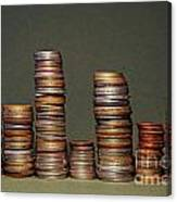 Stacks Of Various Currency Coins Canvas Print