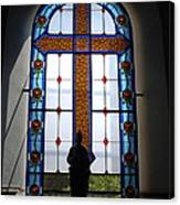 Stained Glass Cross Window Of Hope Canvas Print