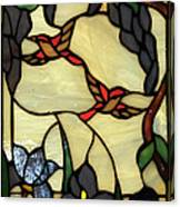 Stained Glass Humming Bird Vertical Window Canvas Print