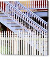 Stairs And White Picket Fence Canvas Print