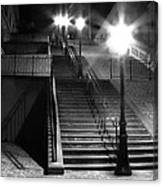 Stairway To Montmartre At Night Canvas Print