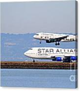 Star Alliance Airlines And Frontier Airlines Jet Airplanes At San Francisco Airport . Long Cut Canvas Print