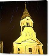 Star Trails Behind Vodice Church Canvas Print