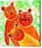 Stargazing Teddy Bears Canvas Print