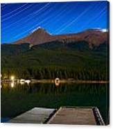 Starry Night Of Mountains And Lake Canvas Print