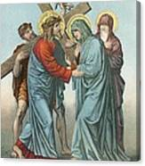 Station Iv Jesus Carrying The Cross Meets His Most Afflicted Mother Canvas Print
