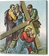 Station Vii Jesus Falls Under The Cross The Second Time Canvas Print