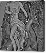 Statue 17 Black And White Canvas Print