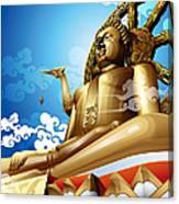 Statue Of Big Buddha On Blue Sky. Canvas Print