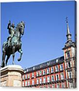 Statue Of King Philip IIi At Plaza Mayor Canvas Print