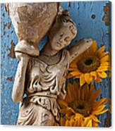 Statue Of Woman With Sunflowers Canvas Print