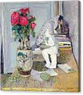 Statuette By Maillol And Red Roses Canvas Print