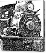 steam Engine pencil sketch Canvas Print