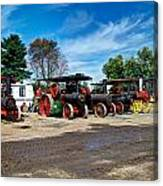 Steam Engines Lined Up Canvas Print