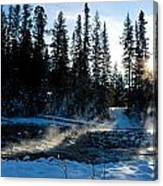 Steaming River In Winter Canvas Print