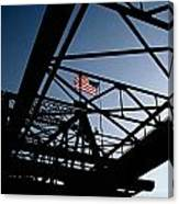 Steel Bridge With American Flag Canvas Print