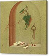 Still Life With Cards And Grapes Canvas Print