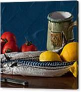 Still Life With Mackerels Lemons And Tomatoes Canvas Print