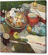 Still Life With Onions And Cucumbers Canvas Print