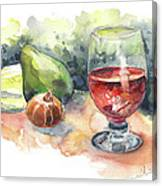 Still Life With Red Wine Glass Canvas Print