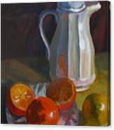 Still Life With White Carafe And Oranges Canvas Print