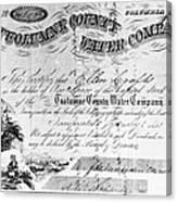Stock Certificate, 1853 Canvas Print
