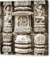 Stone Carvings In An Indain Temple Canvas Print