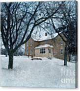 Stone Farmhouse In Winter Canvas Print