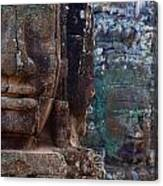 Stone Heads At Bayon Temple Canvas Print