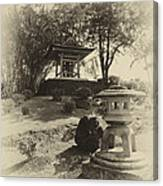 Stone Lantern And Temple Bell Canvas Print