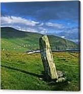 Stone On A Landscape, Ogham Stone Canvas Print