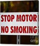 Stop Motor No Smiking Canvas Print
