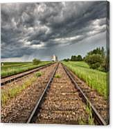 Storm Clouds Over Grain Elevator Canvas Print