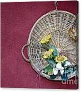 Straw Basket With Flowers Canvas Print