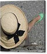 Straw Hat And Green Shoes Canvas Print
