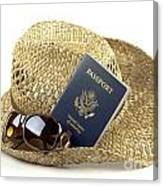 Straw Hat With Glasses And Passport Canvas Print