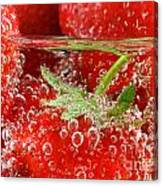 Strawberries In Water Close Up Canvas Print