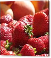 Strawberries With Peaches Canvas Print