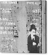 Street Graffiti Art - The Little Tramp Bw Canvas Print