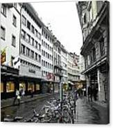 Street In Lucerne With Cycles And Rain Canvas Print
