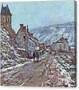 Street In Vetheuil In Winter Canvas Print