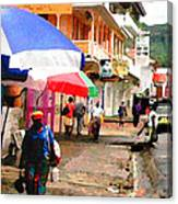 Street Scene In Rosea Dominica Filtered Canvas Print
