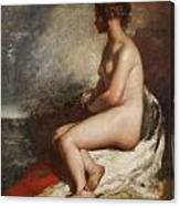 Study Of A Seated Nude Canvas Print