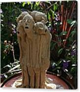 Suffering Circle Ceramic Sculpture Brown Clay  Canvas Print