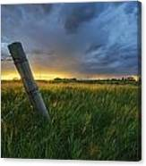 Summer Thunderstorm And Fencepost Canvas Print