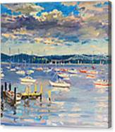 Sun And Clouds In Hudson Canvas Print