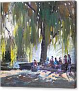 Sunday Afternoon By The Fontain Canvas Print