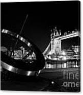 Sundial And Tower Bridge At Night Canvas Print