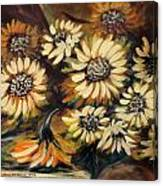 Sunflowers 12 Square Painting Canvas Print