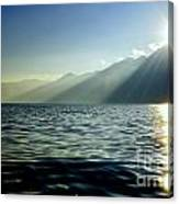 Sunlight Over A Lake With Mountain Canvas Print